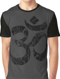 OM Yoga Spiritual Symbol in Distressed Style Graphic T-Shirt