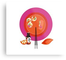 Sushi plate & chop sticks Metal Print