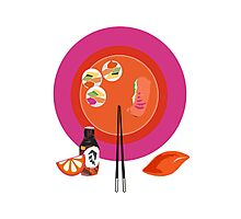 Sushi plate & chop sticks Photographic Print