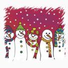Snowmen in a line by himmstudios