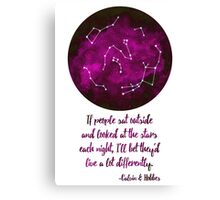 If people sat outside & looked at the stars - Pink Canvas Print