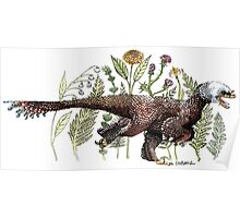 Velociraptor and plant life Poster