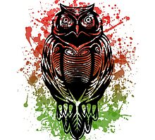 Green to red watercolor tribal owl by Shatterproof88