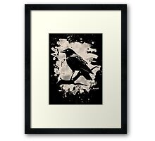 Crow bleached (creme white) Framed Print