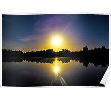 Sunset Over U.E.A Lake, Norwich, England Poster