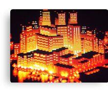 8-bit pixel cityscape Canvas Print