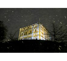 Snowy Night At Norwich Castle Museum, England Photographic Print