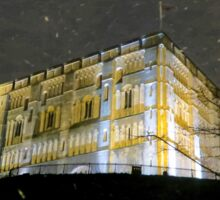 Snowy Night At Norwich Castle Museum, England Sticker