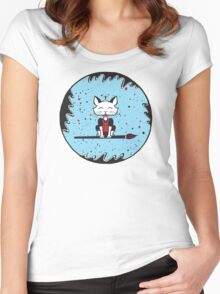 A Cats World of Calligraphy Women's Fitted Scoop T-Shirt
