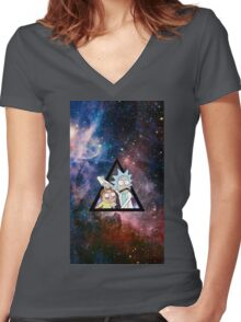 rick and morty in space. Women's Fitted V-Neck T-Shirt