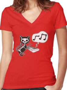 death cat music Women's Fitted V-Neck T-Shirt