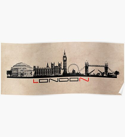 London skyline city black Poster