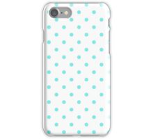 Aqua Belle Aqua Polka Dots on White iPhone Case/Skin