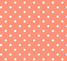Flamingo Coral with White Polka Dots by honorandobey