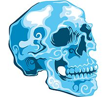 blue skull illustration Photographic Print