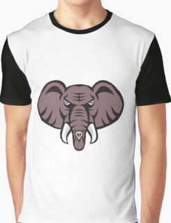 African Elephant Head Angry Tusk Retro Graphic T-Shirt