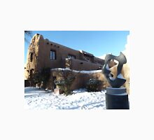 Sculpture, February, Adobe Architecture, Snow View, Santa Fe, New Mexico   Unisex T-Shirt
