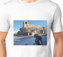 Sculpture, January, Adobe Architecture, Snow View, Santa Fe, New Mexico   Unisex T-Shirt