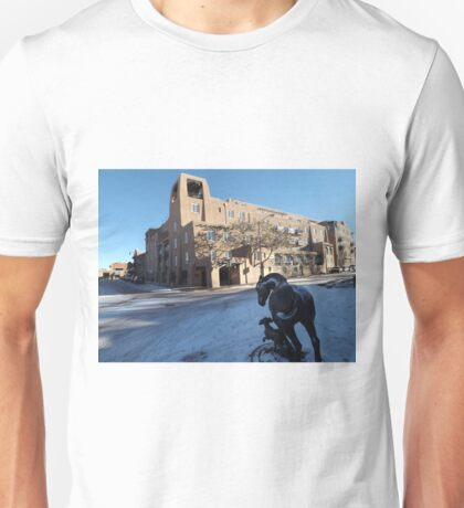 Sculpture, January, Adobe Architecture, Snow View, Santa Fe, New Mexico   T-Shirt