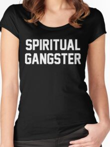 Spiritual Gangster - White Text Women's Fitted Scoop T-Shirt