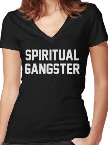 Spiritual Gangster - White Text Women's Fitted V-Neck T-Shirt