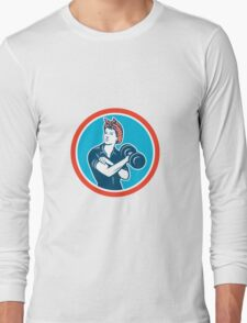 Bandana Woman Lifting Dumbbell Circle Retro Long Sleeve T-Shirt