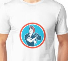 Bandana Woman Lifting Dumbbell Circle Retro Unisex T-Shirt