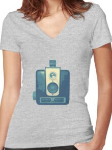 Classic Hawkeye Camera Design in Blue Women's Fitted V-Neck T-Shirt