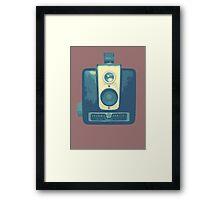 Classic Hawkeye Camera Design in Blue Framed Print
