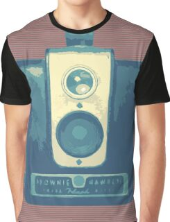 Classic Hawkeye Camera Design in Blue Graphic T-Shirt