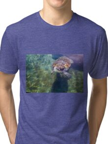 Green sea turtle (Chelonia mydas) swimming.  Tri-blend T-Shirt