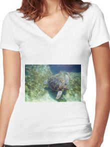Green sea turtle (Chelonia mydas) swimming.  Women's Fitted V-Neck T-Shirt