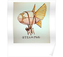 Steam Pug Life Of Pug Funny Dog With Pilot Google And Parachute T-Shirt Poster