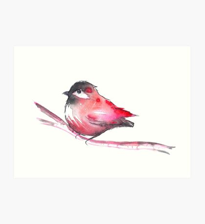 Red Bird Watercolor Art Print