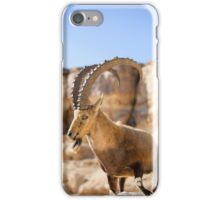 Male Nubian Ibex (Capra ibex nubiana), standing on edge of the Ramon crater, Negev Desert, Israel iPhone Case/Skin