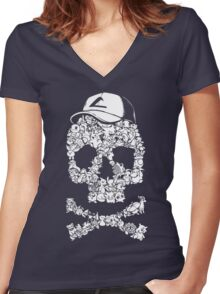 Pokemon Skull Pattern Women's Fitted V-Neck T-Shirt