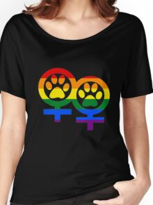 Lesbian rainbow kitty paws Women's Relaxed Fit T-Shirt