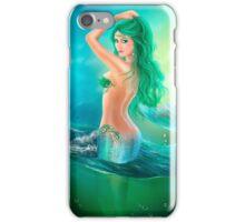 mermaid fantasy at ocean on waves iPhone Case/Skin