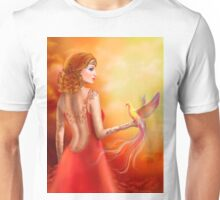 Fantasy beautiful woman fairy and bird Unisex T-Shirt