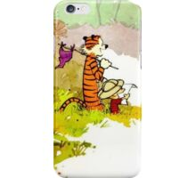 calvin and hobbes funny forest iPhone Case/Skin
