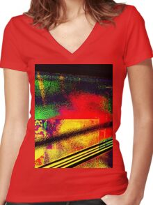 Travel Into Patterns Of Smoothness Women's Fitted V-Neck T-Shirt