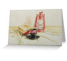 Still life with red oil lamp Greeting Card