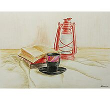 Still life with red oil lamp Photographic Print