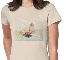 Still life with red oil lamp Womens Fitted T-Shirt