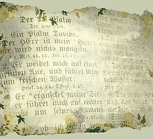 PSALM 23 IN GERMAN (old parchment) by Sandra  Aguirre