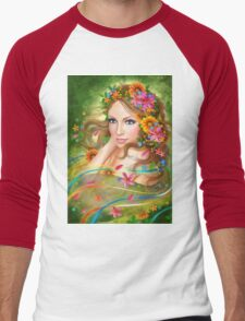 Fantasy Beautiful fairy woman with summer flowers. nature. fashion portrait  Men's Baseball ¾ T-Shirt