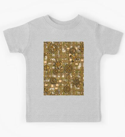 Steampunk Panel, Gears and Pipes - Brass Kids Tee