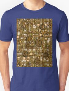 Steampunk Panel, Gears and Pipes - Brass Unisex T-Shirt