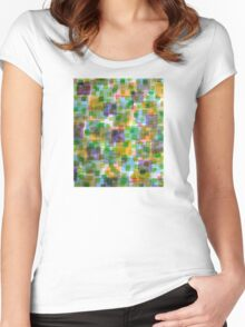 Large Squares covered by Small Green Squares  Women's Fitted Scoop T-Shirt