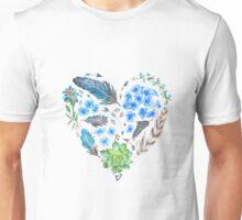 Boho Style Watercolor Heart Shape Unisex T-Shirt